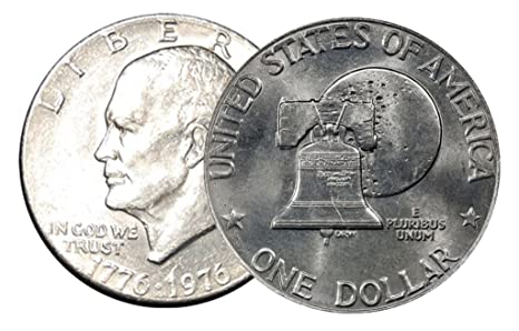 Type 1 and Type 2 1976 Proof Eisenhower Dollar