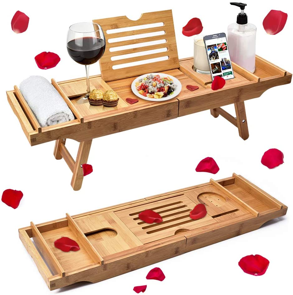 Latest Unique Zen Design Bathtub Caddy Wine Glass /& iPad Holder by Bambooware Bamboo Bathtub Tray /& Bed Laptop Desk with Foldable Legs Top Quality Bamboo Bathtub Caddy Tray with Adjustable Legs