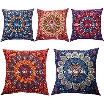 Trade Star Exports 5 Pcs Indian Mandala Cushion Covers, 18x18 Ethnic Pillowcase, Floral Outdoor Cushions, Cotton Pillowsham, Boho Cushions and Throws, Sofa Decorative Pillow