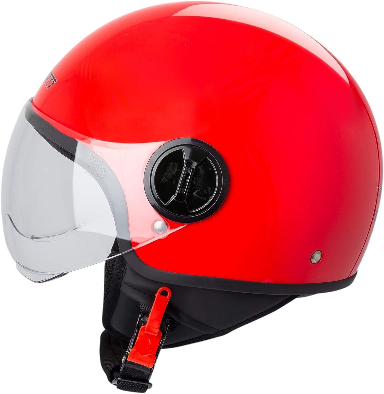 Motorradhelm Motorrad Roller Jet Helm Demi Avio Viser Homologiert SonicMoto Blau L
