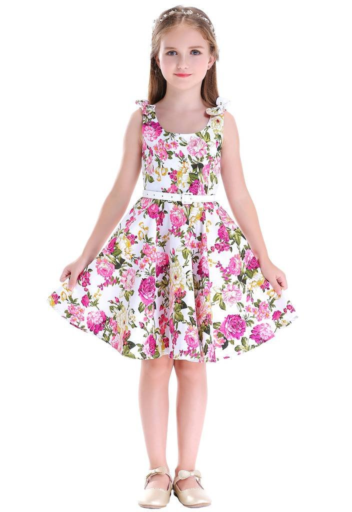 Bow Dream Girls Dresses Retro 1950s Vintage Swing Party Dresses Floral Pink 8