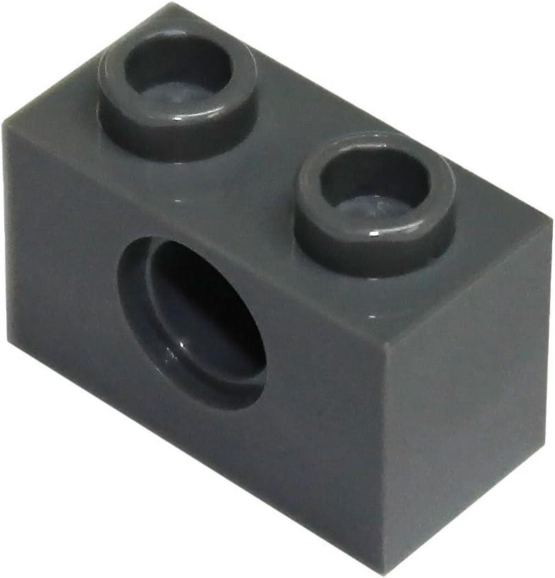LEGO Parts and Pieces: Technic Dark Gray (Dark Stone Grey) 1x2 Brick with Hole x100