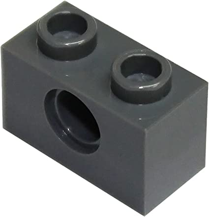 Lego 5 New Dark Bluish Gray Technic Pieces Brick 1 x 2 with Holes