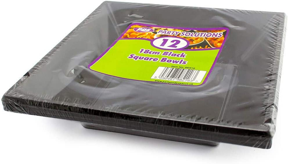 24 x BLACK SQUARE DISPOSABLE PLASTIC BOWLS 24oz//18cm Great for Parties FREE DELIVERY