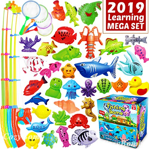 CozyBomB Kids Pool Fishing Toys Games – Ocean Animal Learning Set Magnetic Floating Toy Magnet Pole Rod Fish Net Water Table Bathtub Bath Game – Education for Age 3 4 5 Boys Girls Teacher Classroom