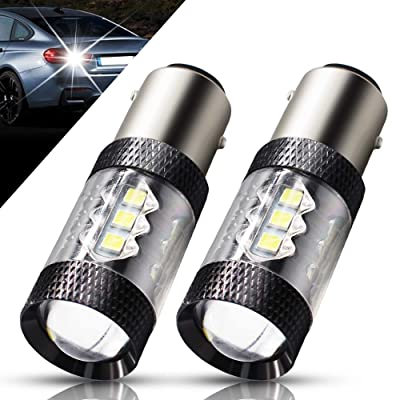 Boodlied 2X 1157 LED Bulb Super Bright 3030 16-SMD Chipsets 640LM 6000~6500K, BAY15D 7528 2057 2357 LED Bulbs For Auto Backup Reverse,Brake,Tail Lights.(Xenon White).: Automotive