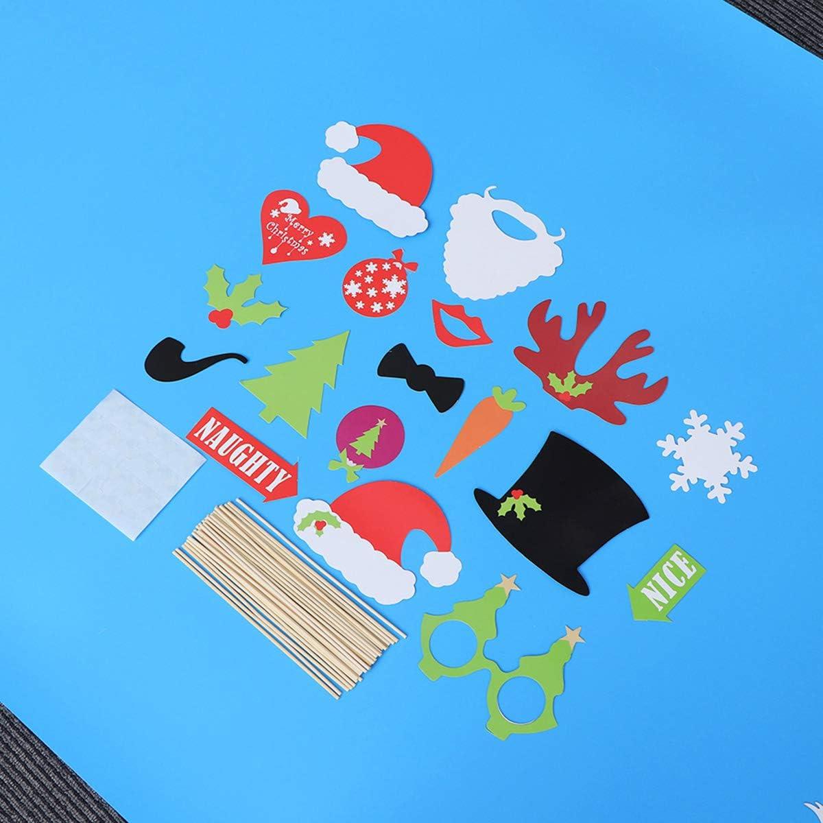 BESTOYARD Adornos Navide/ños DIY Photocall Apoyos del Fotomat/ón Comunion Divertido Decoracion para Navidad Boda Accesorios Fotogr/áficos Navide/ños 55 Piezas