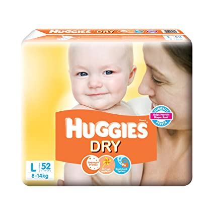 29b428ffab Buy Huggies New Dry Diapers, Large (Pack of 52) Online at Low Prices in  India - Amazon.in