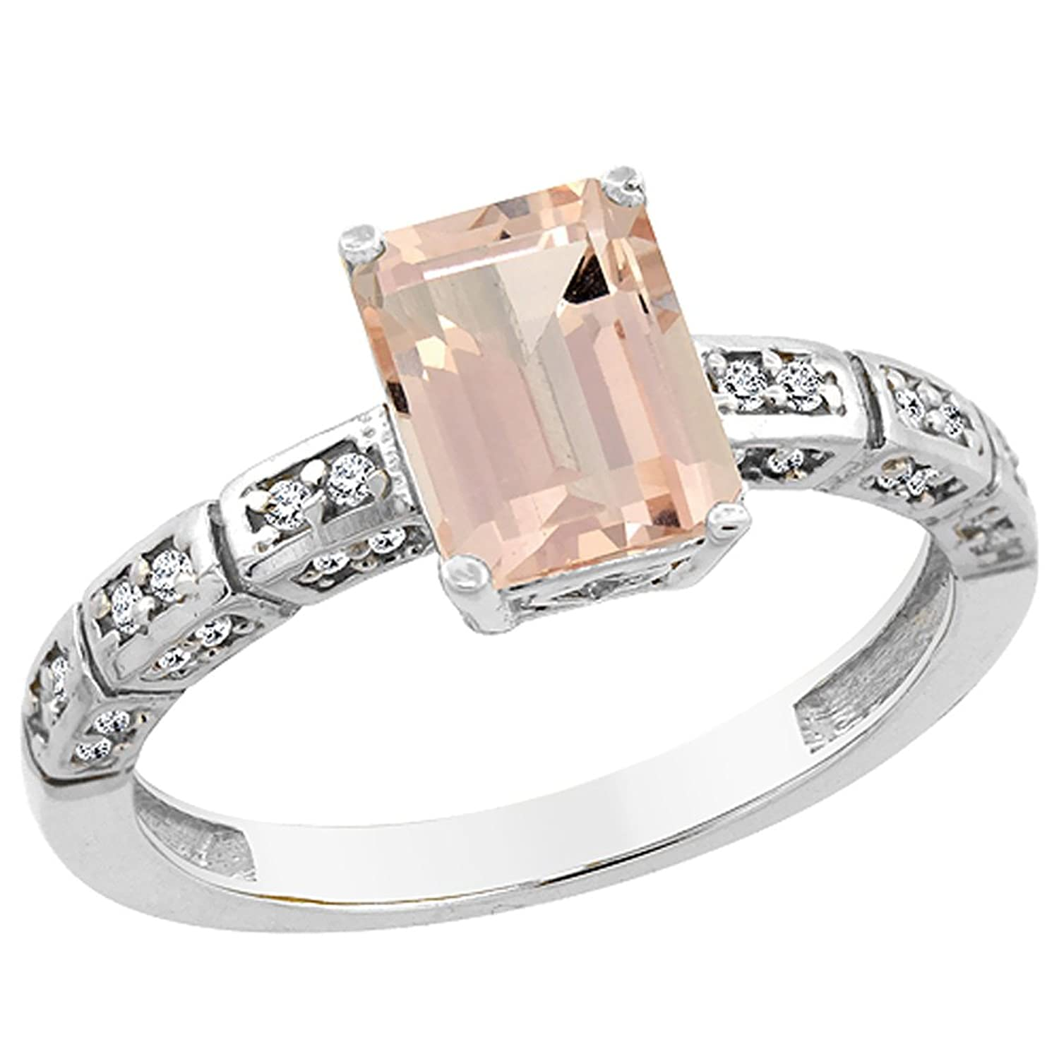 14K White Gold Natural Morganite Octagon 8×6 mm with Diamond Accents, sizes 5 – 10