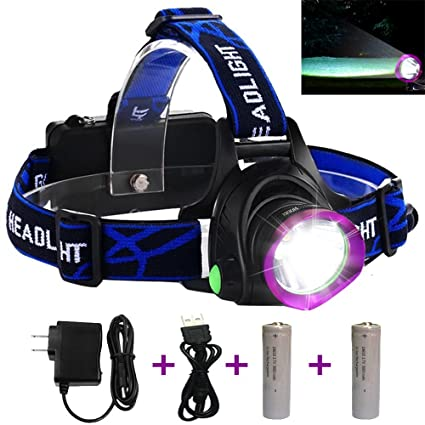 LED Headlamp, Headlamp Flashlight with Rechargeable 18650 Batteries USB Charger for Cycling Running Dog Walking Camping Hiking Fishing Night Reading ...