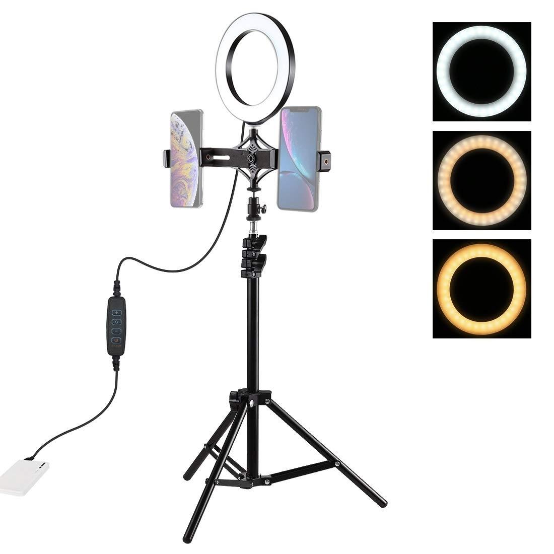 NSK Selfie Ring Light LLP 1.1m Tripod Mount + Live Broadcast Dual Phone Bracket + 6.2 inch LED Ring Vlogging Video Light Kits