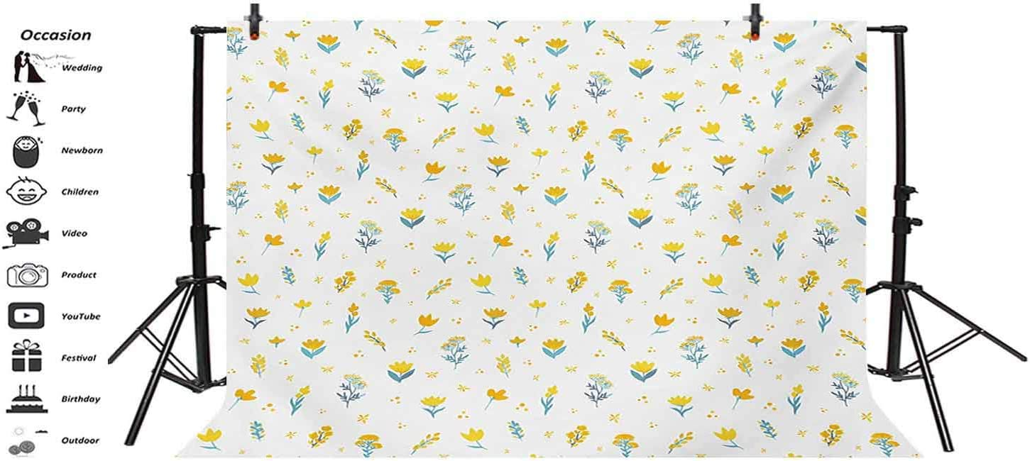 Yellow and White 8x6 FT Vinyl Photography Background Backdrops,Hand Drawn Wildflowers Ornate Botanical Design on Dotted Backdrop Background for Graduation Prom Dance Decor Photo Booth Studio Prop Bann