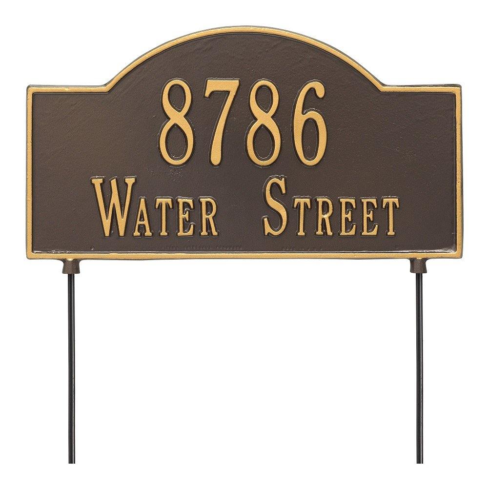 Arch Marker Two-Sided Standard Address Sign Finish: Bronze and Gold by Whitehall