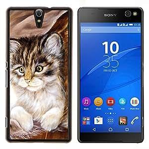 EJOOY---Cubierta de la caja de protección para la piel dura ** Sony Xperia C5 Ultra ** --Maine Coon gatito pequeño felino