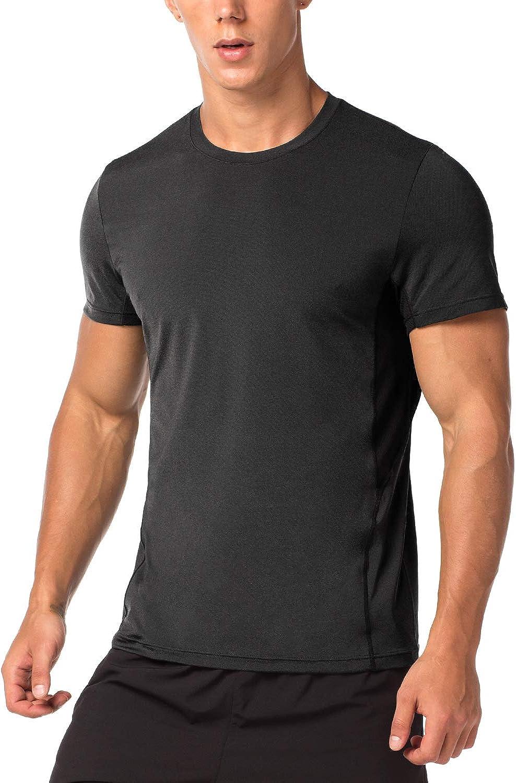 LAPASA Camiseta Deportiva Hombre de Manga Corta Transpirable y Secado Rápido con Microperforación en los Costados M15