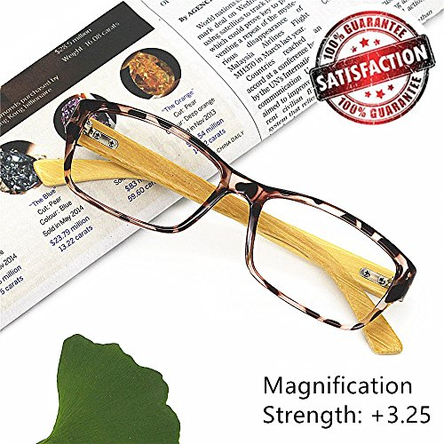 Bamboo Reading Glasses 3.25 - EyeYee 2017 New Comfortable Fit Glasses for Women Men High Magnification Light Tortoise Readers Anti Glare Anti Eye - It Prescription Sunglasses Worth