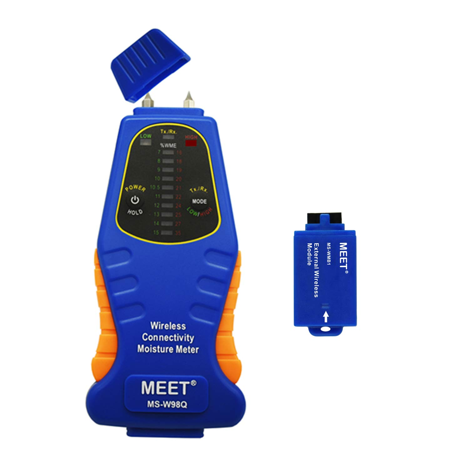 Meet Wireless Connectivity Moisture Meter with Pin Type, Wood, Concrete, Drywall, Carpet Detector, Green/Red Led Bar Graph Display