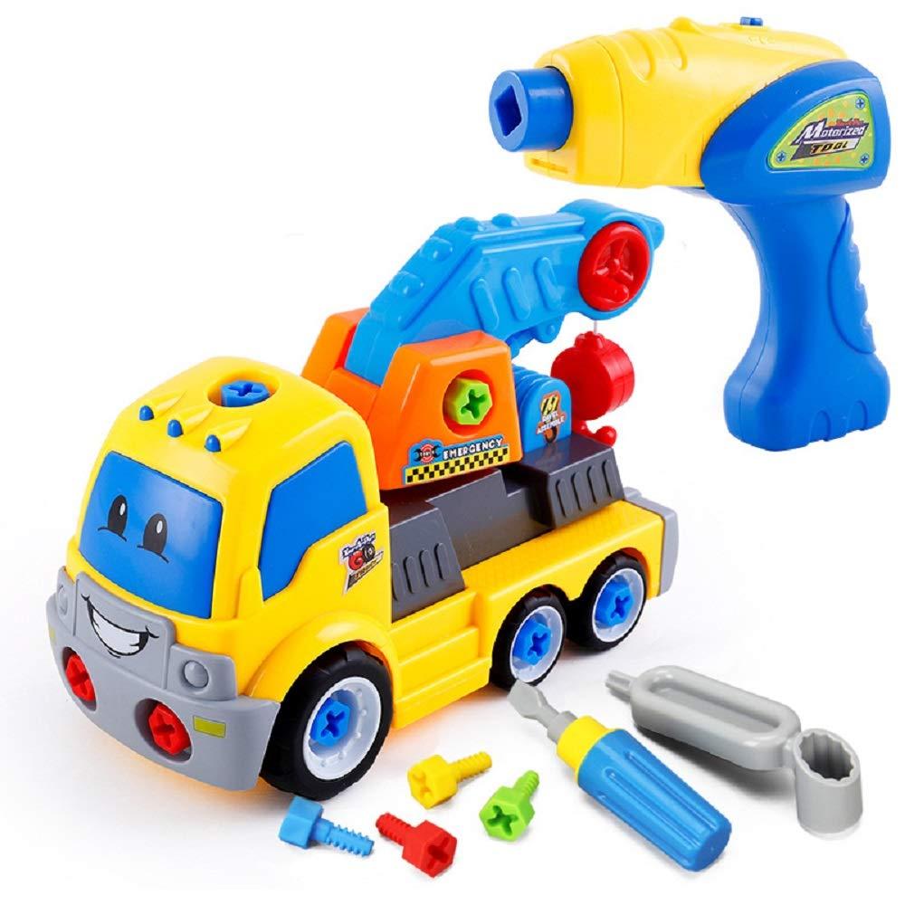 子供用 パズル 分解 エンジニアリング 車 赤ちゃん 取り外し可能 組み立て式 電動ナット ツール おもちゃ 男の子 ギフト B07H5FC7F6