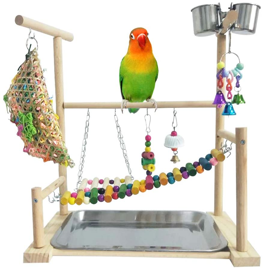 kathson Parrots Playground Bird Perch Gym Playpen Birds Chewing Toys Bridges with Swings Food Bowl for Parakeets African Grey Conures Cockatiel Cockatoos Parrotlets