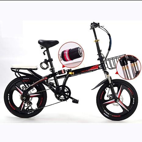 Grimk Bicicleta Plegable Unisex Adulto Aluminio Urban Bici Ligera Estudiante Folding City Bike con Rueda De 19 ...