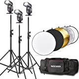 "Neewer® TT560 Flash Speedlite Kit for Canon Nikon Panasonic Olympus Fujifilm Pentax Sigma Minolta Leica and Other SLR Digital SLR Film SLR Cameras, includes (3)Neewer TT560 Speedlite Flash + (1)32""/80cm 5 in 1 Collapsible Circular Reflector + (3)71""/180cm Photography Light Stands + (1)Lighting Kit Bag for Light Stand Umbrella"
