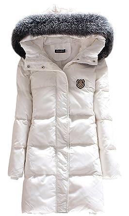 2052fd198 ACE SHOCK Down Coat Women MD Long with Faux Fur Hood, Winter Jacket Parka  White