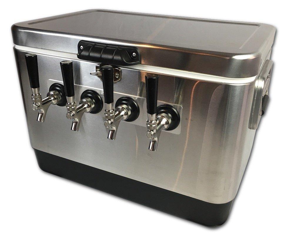 Coldbreak Brewing Equipment CBJB54SPT4 Jockey Box, 4 Tap, Stainless Pass Through, 54 quart Cooler, 50' Coils, 0.25'' ID, 0.3125'' OD, Stainless Steel, Silver