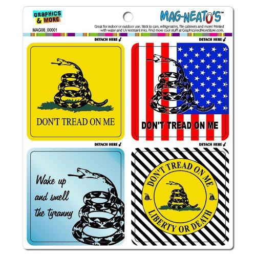 Graphics and More Gadsden Don't Tread on Me Tea Party Tyranny Liberty Death Mag-Neato's Car Refrigerator Locker Vinyl Magnet Set