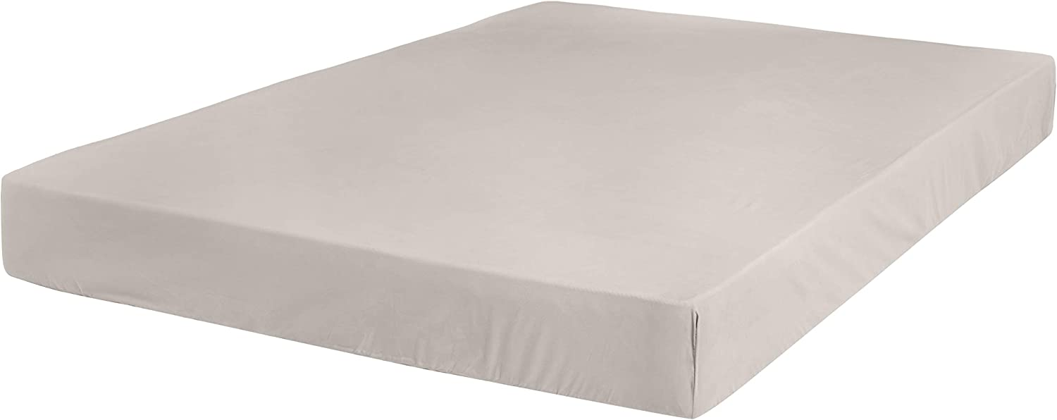 AmazonBasics Ultra-Soft Cotton Fitted Bed Sheet, Breathable, Easy to Wash, Twin XL, Dove Grey