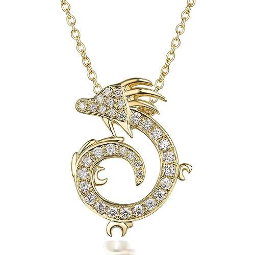 Diamant Collier Pendentif Or Jaune 18 K Chine Dragon Forme Bijoux