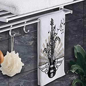 "prunushome Hand Towels Guitar Eco-Friendly Towels Geometrical Elements Stripes Swirls Dots Lines and Musical Notes Rock and Roll for Bath, Hand, Face, Gym and Spa Tan Black White 12""x28"""