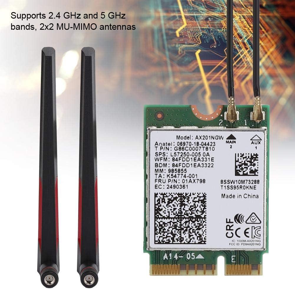 Schnittstellentyp AX201NGW WiFi-Adapter 2,4//5 GHz Wireless-Netzwerkkarte AX201NGW mit AC88u-Dualband-WIFI-Antenne //Dualantenne ASHATA WiFi-Netzwerkkarte ipex4-Verbindungskabel NGFF M.2