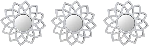 Northlight Set of 3 Arched Floral Matte White Wall Mirrors 9.5