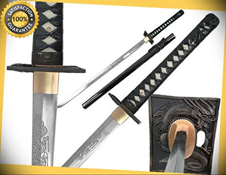 40 Straight Hand Forge Ninja Sword with Dragon Engraved ...