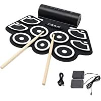 Hizek Batterie Electronique 9 Pads Portable Drum Pad Kits Pliable Musical Entertainment Instrument avec 2 Pédales de Pied et Des Bâtons de Tambour pour Débutants et Enfants - Noir