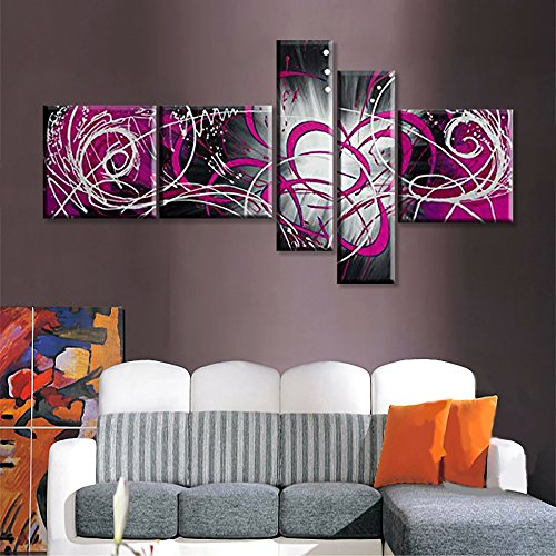 Globalartwork- Handpainted 5 Piece Black White Modern Abstract Oil Paintings on Canvas Peacock Pictures Wall Art for Living Room (pink)