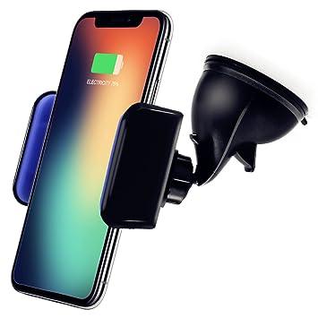 Cargador Inalámbrico Coche, KimKo Qi Cargador Coche Soporte Móvil Wireless Charger para iPhone X iPhone 8 iPhone 8 Plus Samsung S9 S9 plus S8 S8 Plus ...