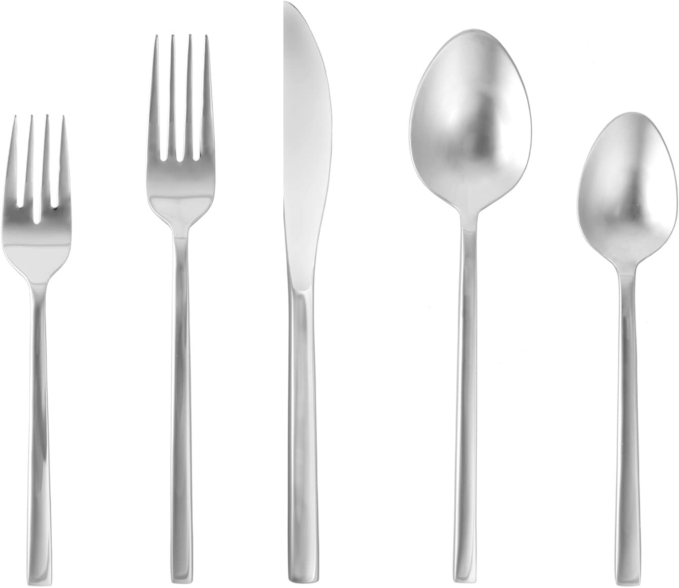 Amazon Com Fortessa Arezzo 18 10 Stainless Steel Flatware 5 Piece Place Setting Service For 1 Brushed Stainless Steel Serving Sets