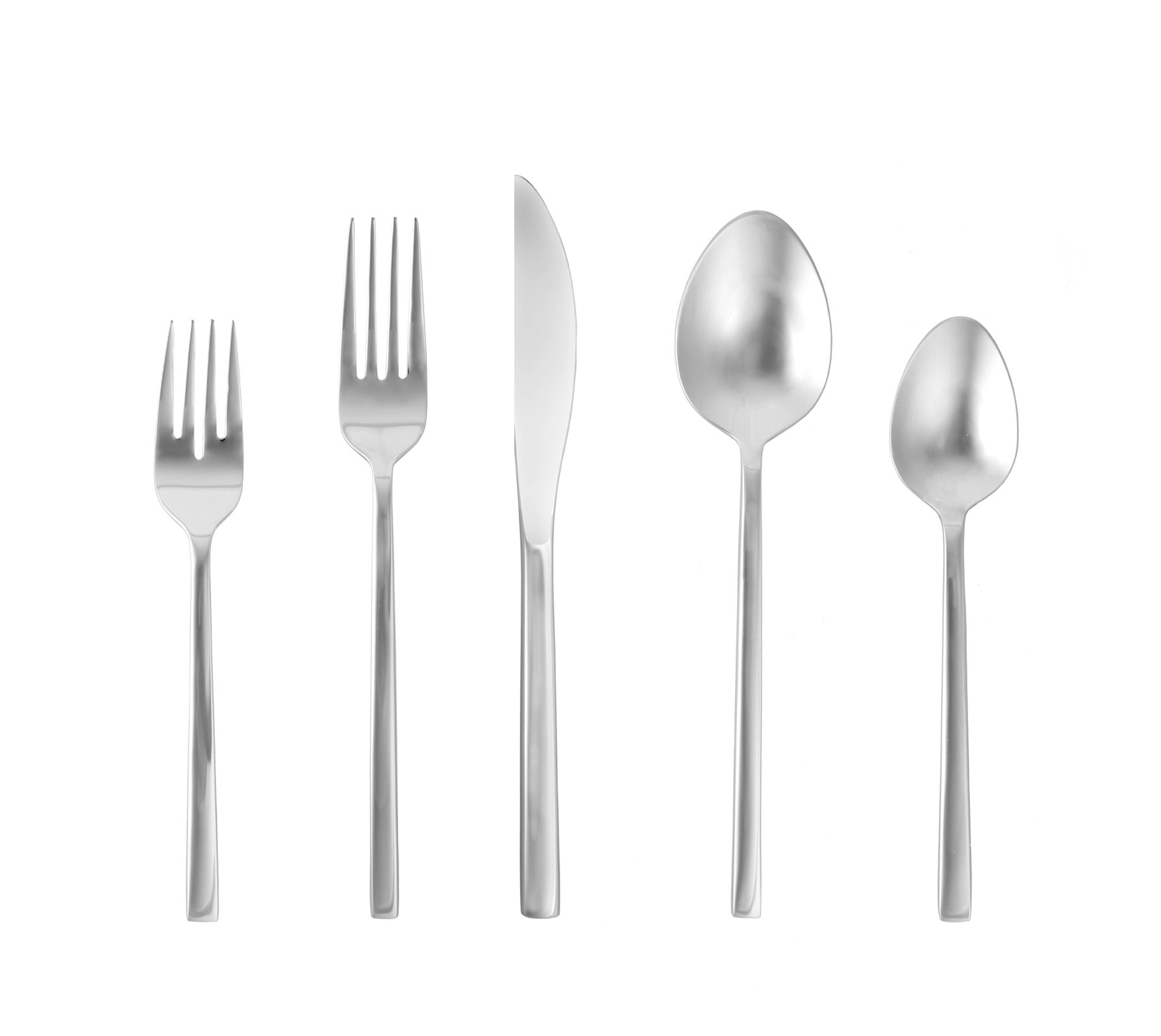 Fortessa Arezzo 18/10 Stainless Steel Flatware 5 Piece Place Setting - 5 piece place setting Heavy gauge 18/10 stainless steel construction Comfortable and balanced - kitchen-tabletop, kitchen-dining-room, flatware - 61ca2Xds6SL -
