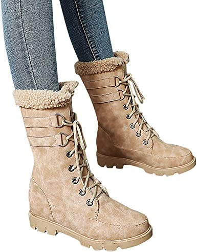 Warm Snow Boots Ankle Lace up Mid-Calf