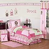 Sweet Jojo Designs 4-Piece Pink and Green Girls Jungle Kids Bedding Twin Set