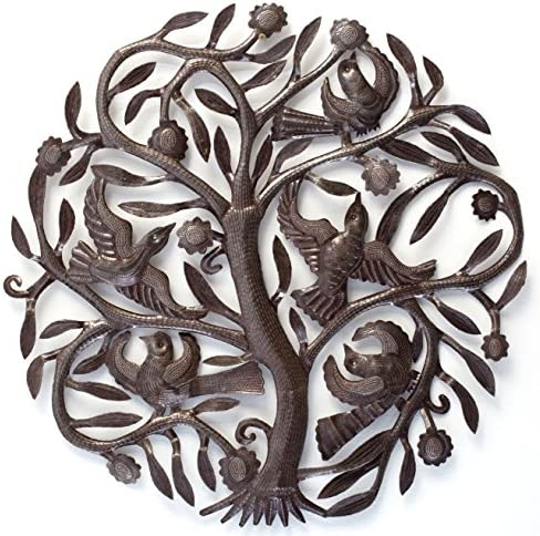 Joyful Haitian Tree of Life Wall Plaque, Decorative Metal Tree with Birds, Wall Hanging Art, Indoor or Outdoor Decor, Handmade in Haiti, NO Machines Used, 24 in. x 24 in. Steel Drum Tree