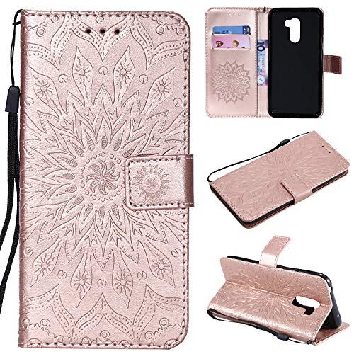 - Ostop Leather Wallet Case for Xiaomi Pocophone F1, Embossed Magnetic Flip Cover Holster with Credit Card Slot,Wrist Strap and Stand Feature,Sunflower-Rose Gold