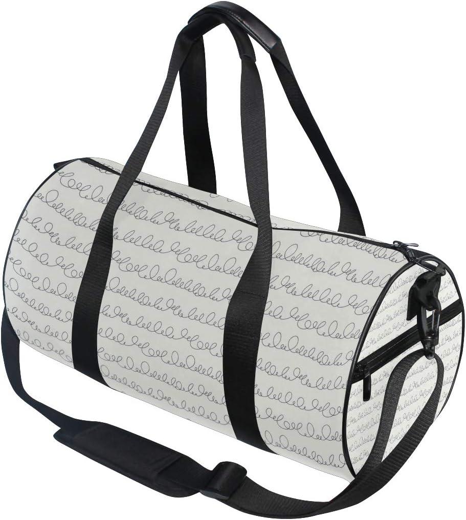 MALPLENA Random Poor Handwriting Lines Drum gym duffel bag women Travel Bag