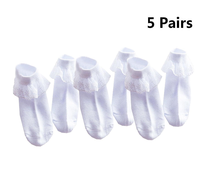 5 Pairls Girls Lovely Lace Ruffle Princess Cotton Socks Baby(0m-11y)