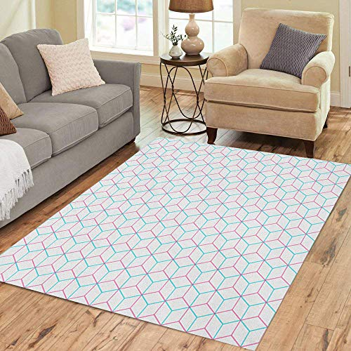 Semtomn Area Rug 2' X 3' Geometric Hexagon Pink Blue Pattern Abstract Modern Triangle Honey Home Decor Collection Floor Rugs Carpet for Living Room Bedroom Dining Room
