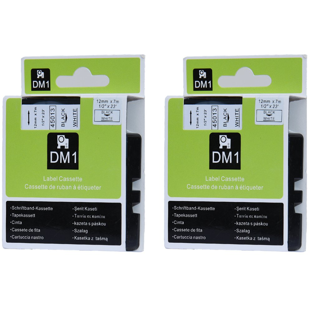 Amazon.com: Felemo 2 Pack Label Tape for D1 45013 S0720530 Cassette Compatible with DYMO LabelManager Printer, Black on White, 1/2 inch x 23 Feet: Office ...