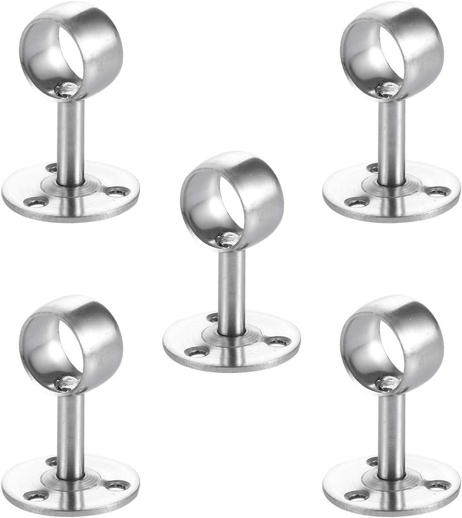 TOPBATHY Lot de 5 Supports en Acier Inoxydable pour Tringle /à Rideaux 22 mm