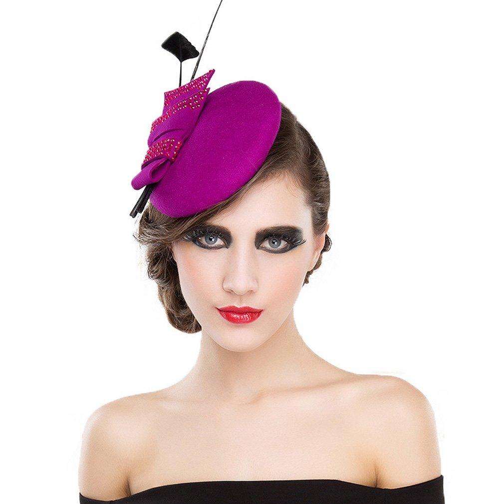 8cb1bf4bc1558 Womens Fascinator Wool Felt Black Fuchsia Elegant Feather Pillbox Hats With  Bow  Amazon.co.uk  Clothing