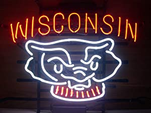 LDGJ Wisconsin Neon Light Sign Home Beer Bar Pub Recreation Room Game Lights Windows Glass Wall Signs Party Birthday Bedroom Bedside Table Decoration Gifts (Not LED)